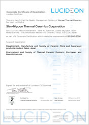 Asia and Rest of World ISO 9001 Certificates | Morgan Thermal Ceramics